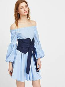 Blue Off The Shoulder Lantern Sleeve Dress With Wrap Belt