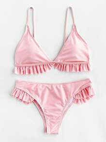 Ruffle Trim Triangle Bikini Set