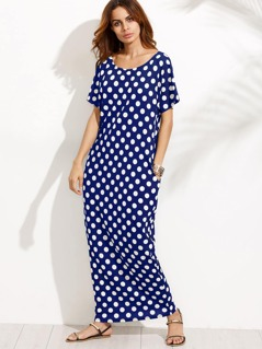 Hidden Pocket Detail Polka Dot Cocoon Dress