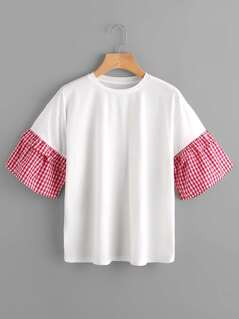 Drop Shoulder Boxy Tee With Gingham Sleeve
