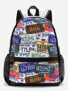 Graphic Print Zipper Front Canvas Backpack