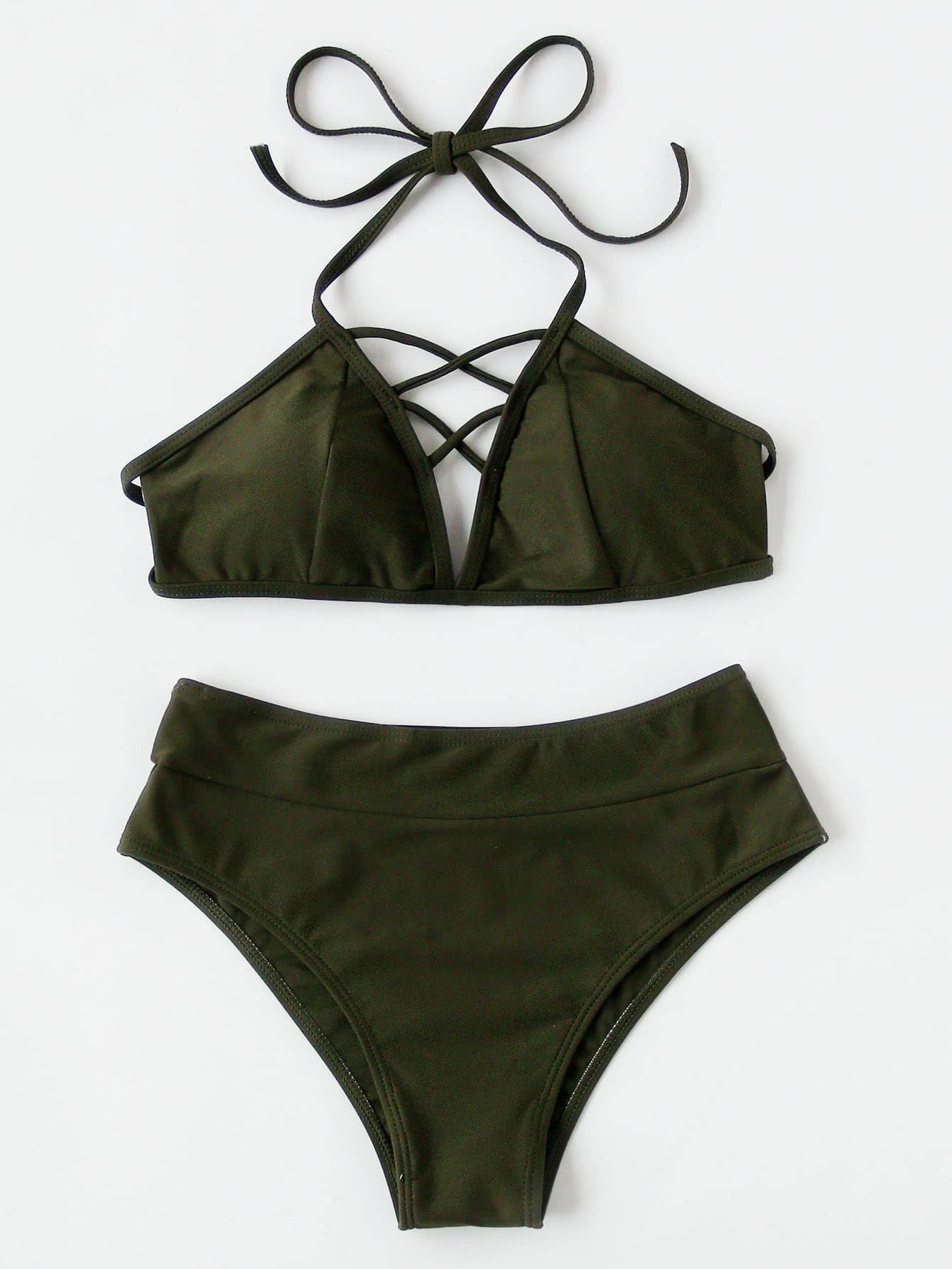 Фото Lattice Front High Rise Bikini Set. Купить с доставкой