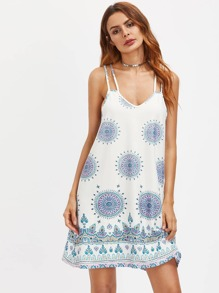Geometric Print Caged Back Slip Dress