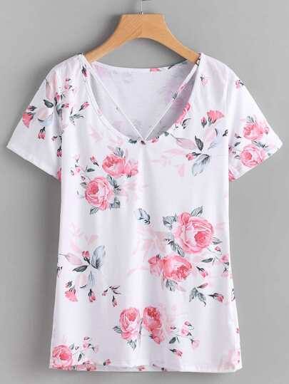 Floral Print Random Strappy Detail Tee