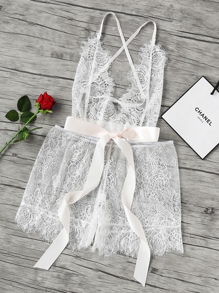 See-Through Floral Eyelash Lace Romper With Ribbon