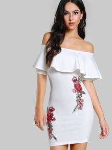 Embroidered Flower Patch Flounce Bardot Dress