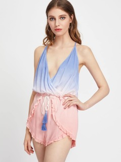Y Back Frilled Surplice Wrap Ombre Playsuit