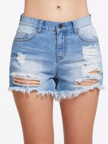 Shorts rincé lacéré en denim