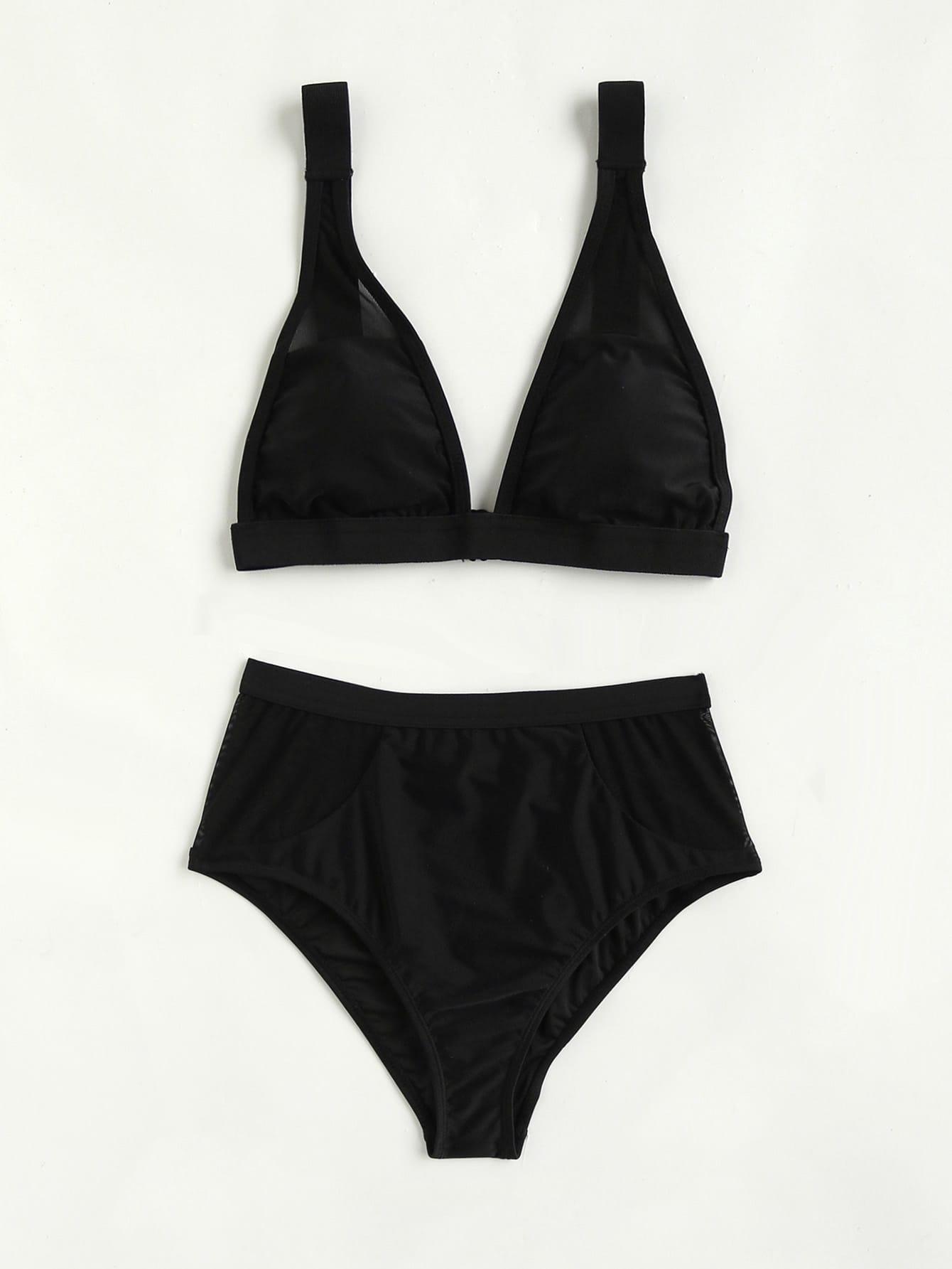 Фото Mesh Insert High Rise Bikini Set. Купить с доставкой