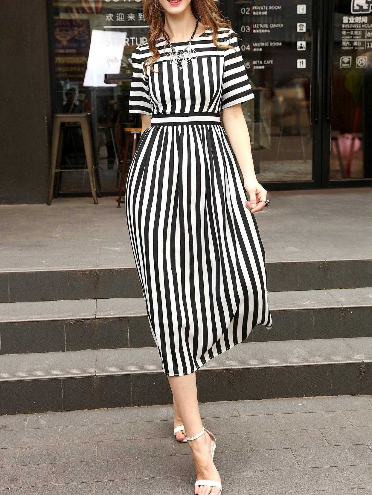 Фото White And Black Striped A-Line Dress. Купить с доставкой
