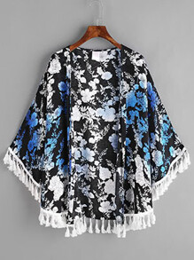 Tassel Trim Botanical Print Kimono