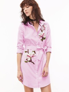 Pinstripe Self Belted Dolphin Hem Embroidered Shirt Dress
