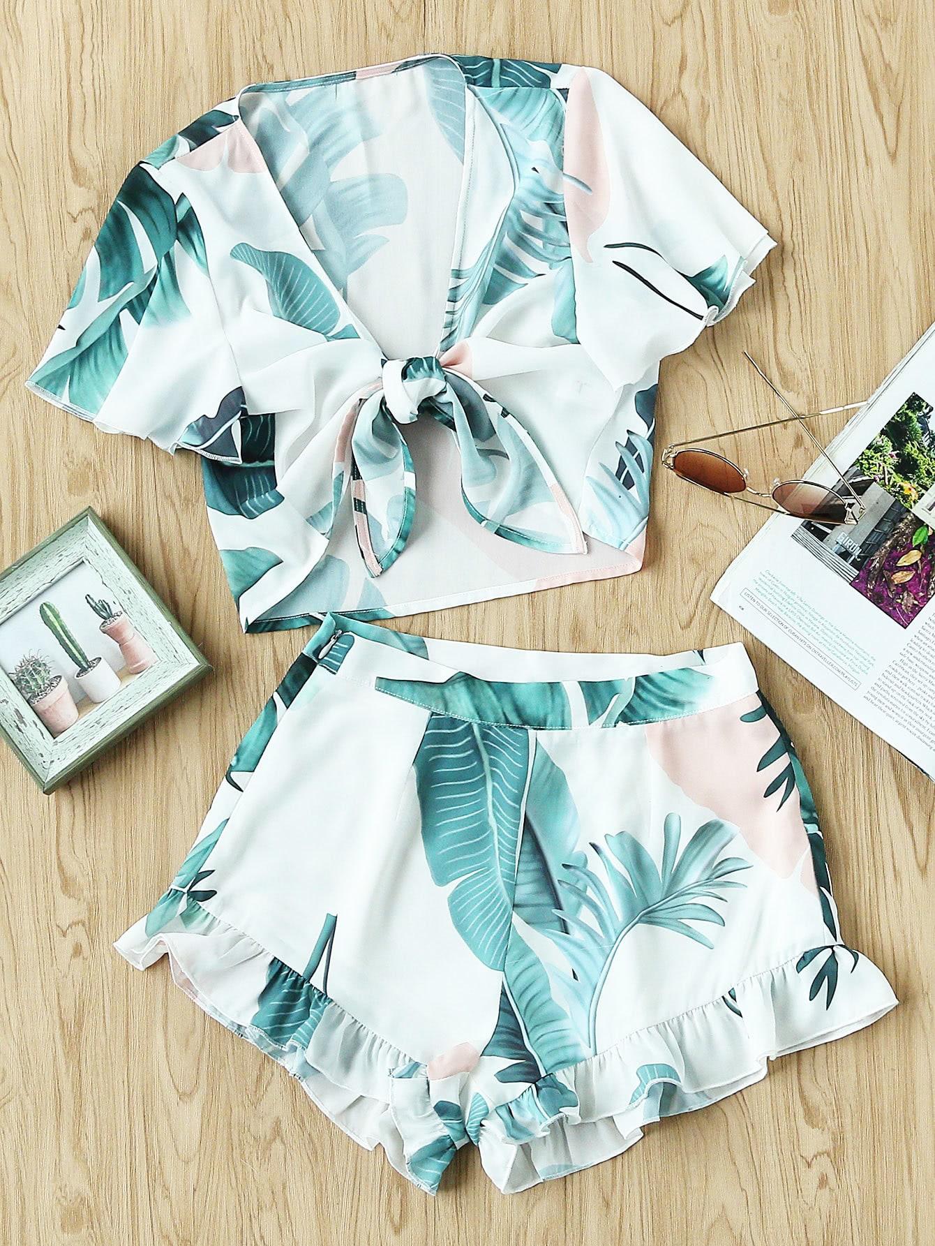 Фото Tropical Print Knot Front Blouse And Shorts Set. Купить с доставкой
