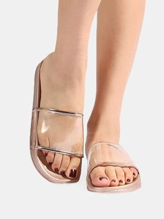 Metallic Clear Sandals ROSE GOLD