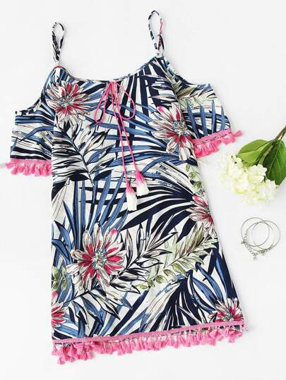 Open Shoulder Printed Random Tassel Hem Dress
