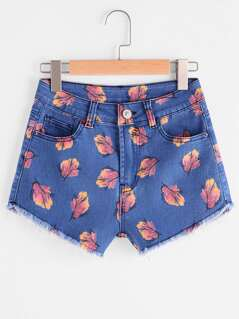 Allover Print Frayed Hem Denim Shorts