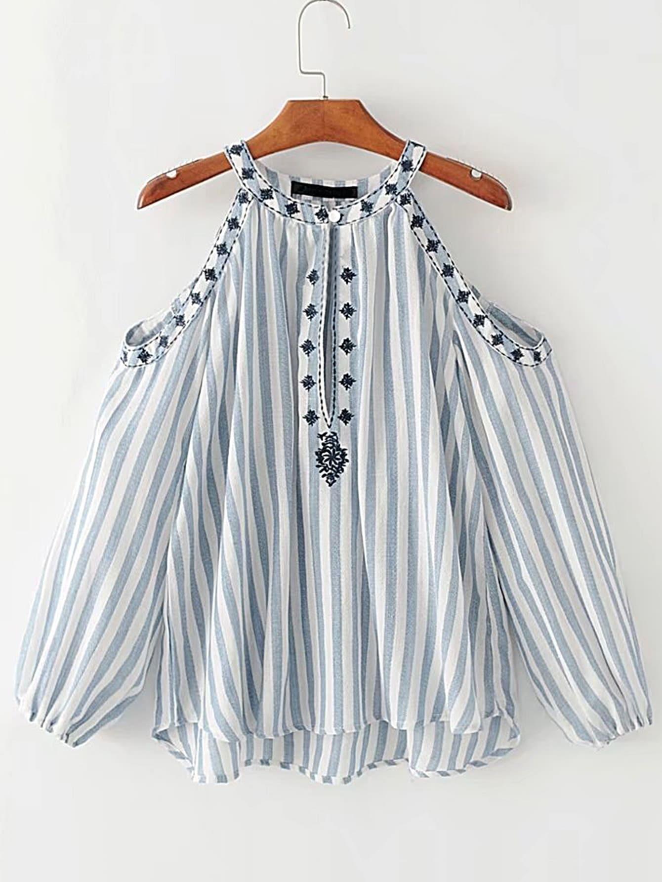 Фото Open Shoulder Vertical Striped Embroidery Top. Купить с доставкой