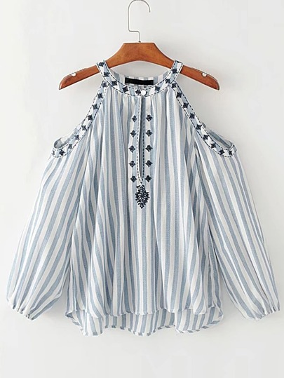 Open Shoulder Vertical Striped Embroidery Top