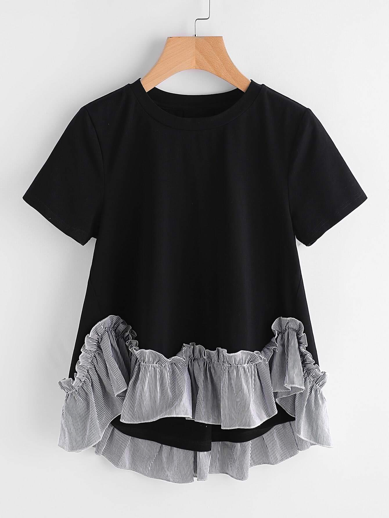 Striped Ruffle Trim Hi Lo A Line T-shirt asymmetrical ruffle trim t shirt