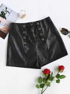 Lace Up Grommet PU Shorts