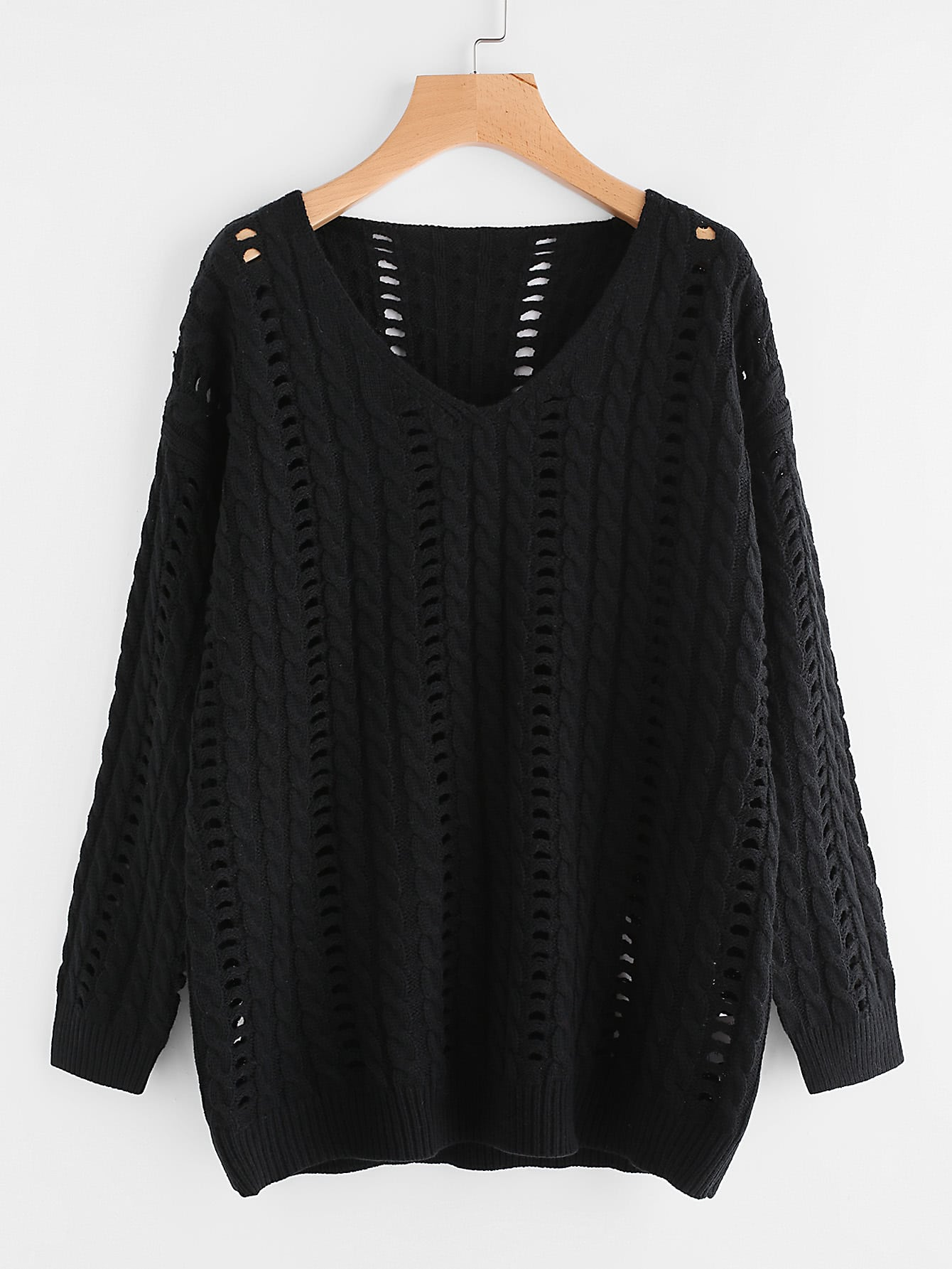 Hollow Out Cable Knit Jumper sweater170629467
