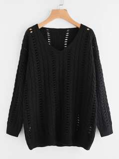 Hollow Out Cable Knit Jumper