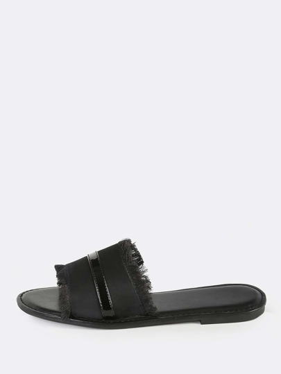 Satin Slip On Sandals BLACK