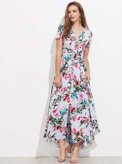 Tasseled Tie Smocked Waist Blossom Dress
