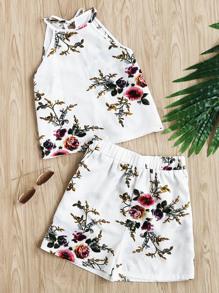 Top imprimé fleuri fendu avec un lacet&Shorts