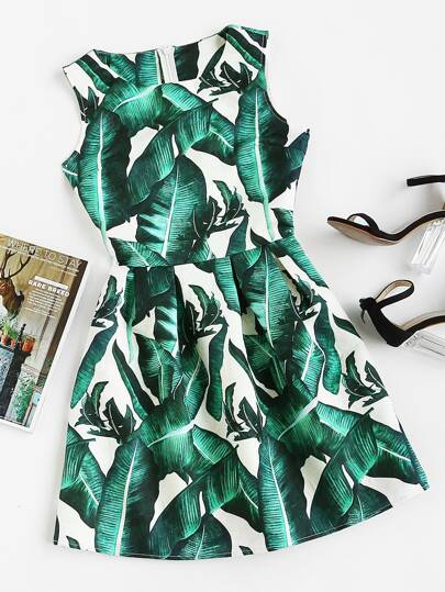 Foliage Print Box Pleated Fit And Flare Dress