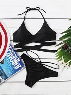 Wrap Cross Halter Top With Strappy Bikini Set