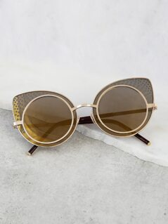 Circular Cat Eye Sunnglasses GOLDEN OLIVE