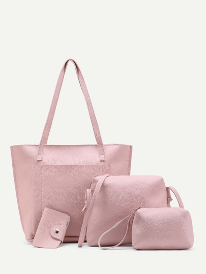 Faux Leather Bag Set 4pcs