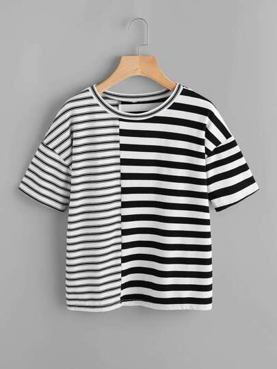 Drop Shoulder Contrast Striped Tee