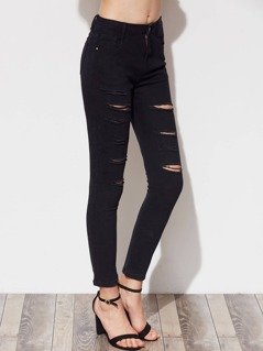 5 Pocket Ripped Skinny Jeans