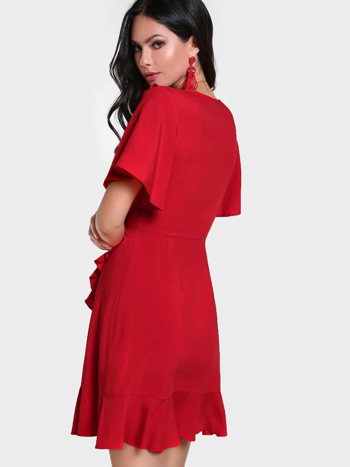 Frill Trim Ruffle Sleeve Surplice Wrap Dress