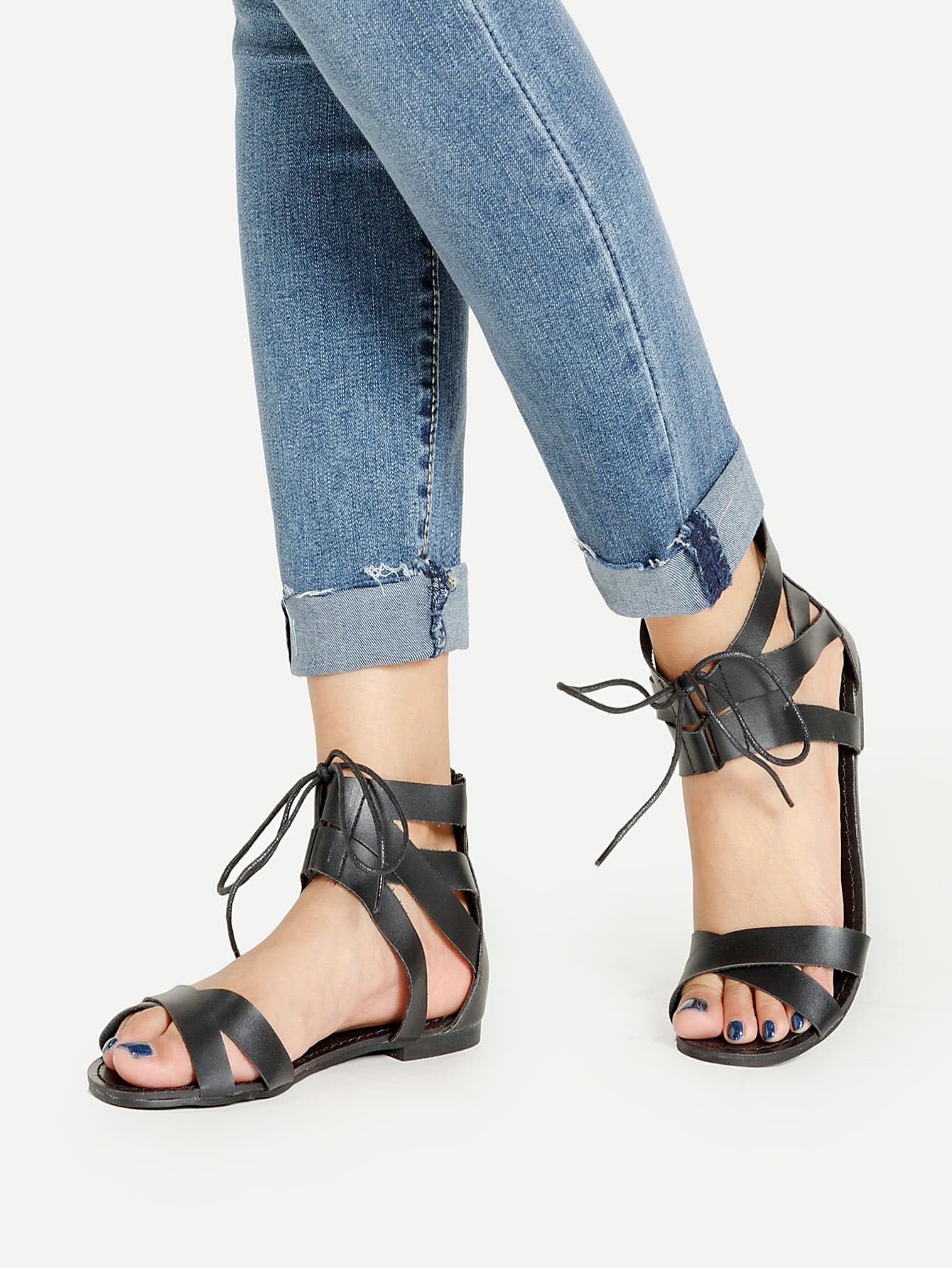 Фото Bow Tie Detail Zipper Back Flat Sandals. Купить с доставкой