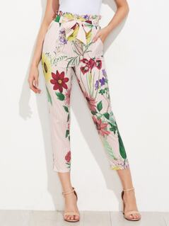 Ruffle Waist Self Belt Mixed Print Pants
