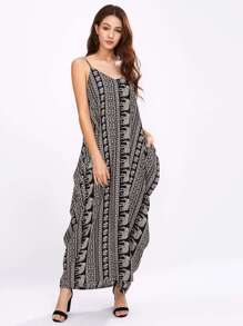 Vintage Print Cocoon Cami Dress