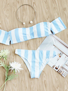 Block Striped Off The Shoulder Bikini Set