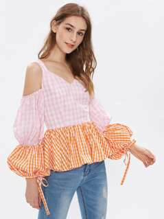 Open Shoulder Puff Sleeve Mixed Gingham Peplum Top
