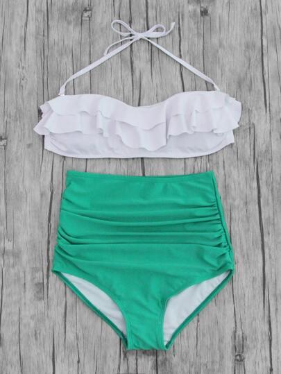 Buy Layered Flounce Ruched High Waist Bikini Set swimwear170626305