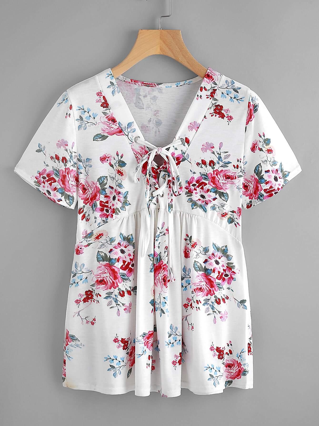 Фото V-neckline Lace Up Flower Print T-shirt. Купить с доставкой
