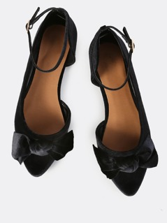 Bow Front Point Velvet Flats BLACK