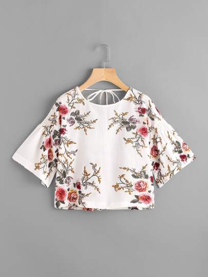 Floral Print Random Self Tie Back Blouse
