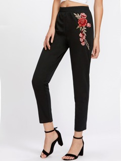Embroidered Rose Applique Jersey Peg Pants