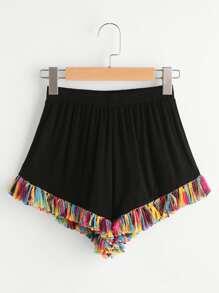 Tassel Hem Elastic Waist Shorts