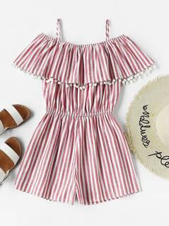 Pom Pom Trim Frill Cold Shoulder Striped Playsuit