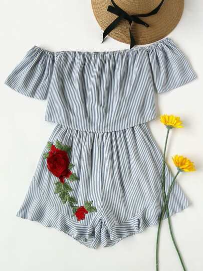 Bardot Rose Applique Stripe Layered Frill Hem Romper