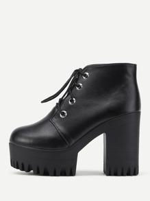Zapatos de tacón alto con plataforma de pu con cordones